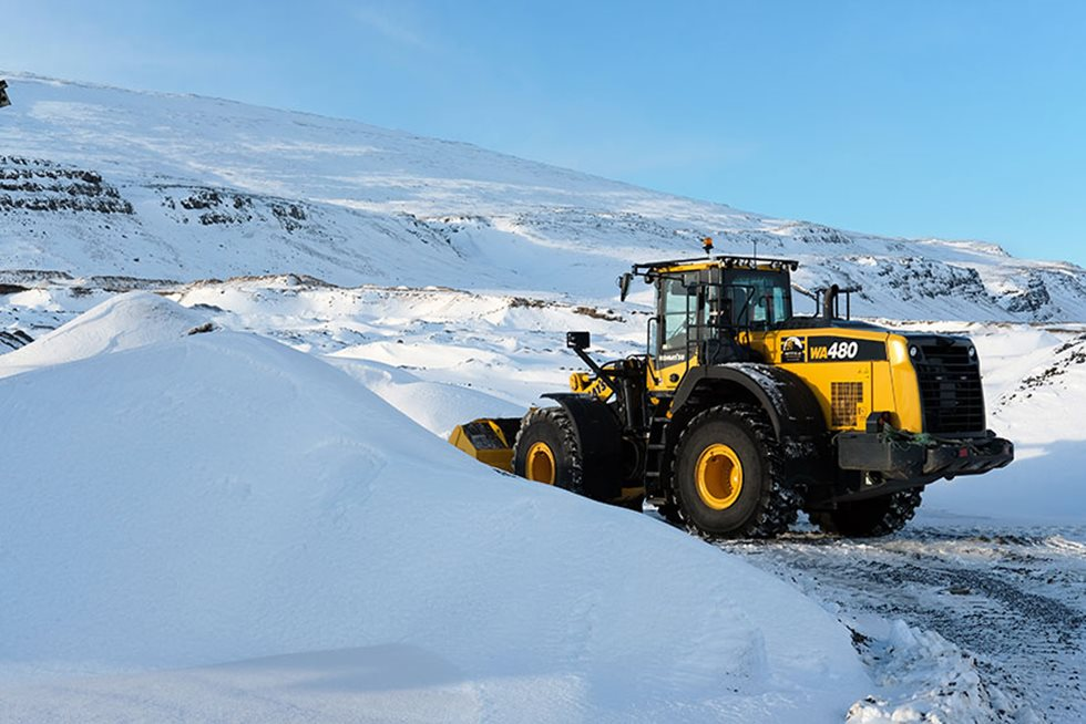 The scenery around the Stora-Fellsoxl quarry near Reykjavik was still wintry in February.