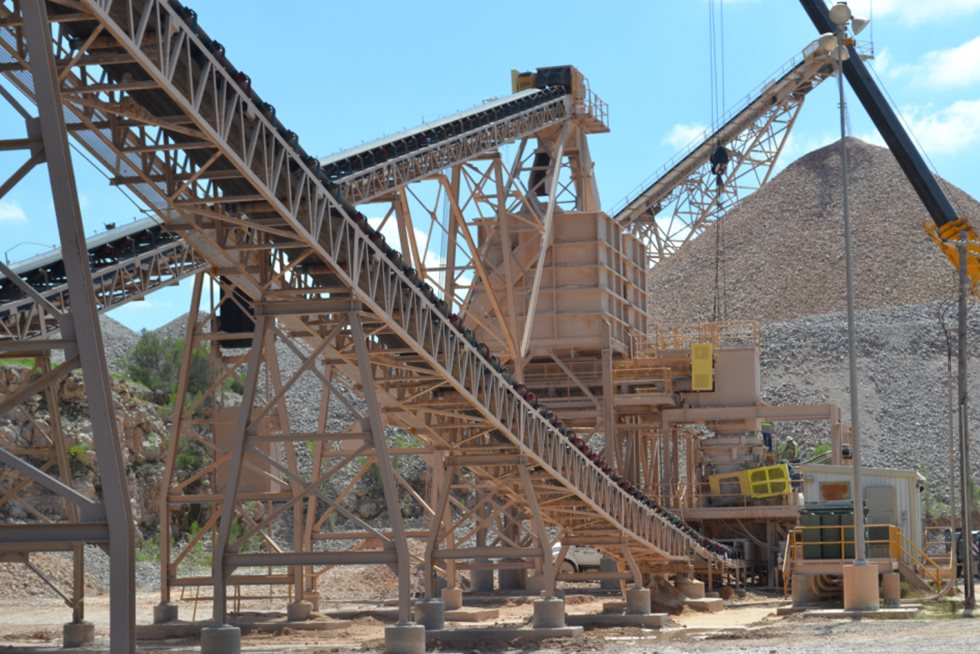 Marble Falls stationary crushing plant.