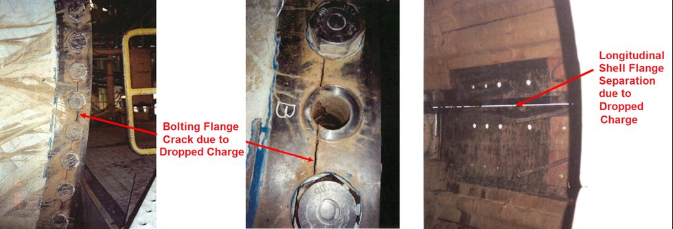 Showing cracks and separation in grinding mill bolt and shell flanges due to dropped charges