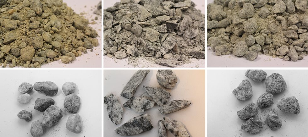Examples of different types of crushed sand.