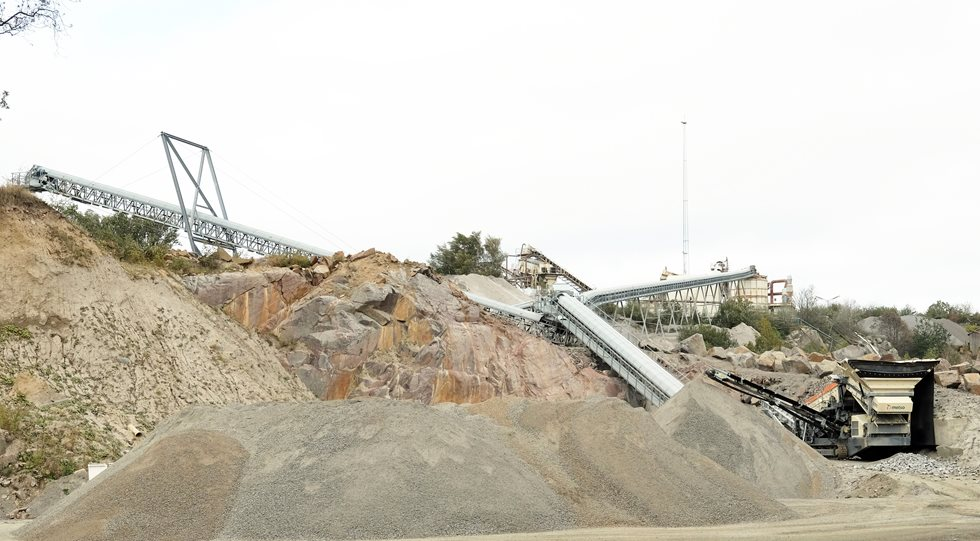 View on the NCC Bornholm quarry and conveyors.