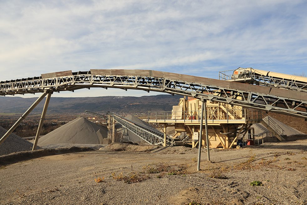 Part of conveyor pictured at a quarry in France.