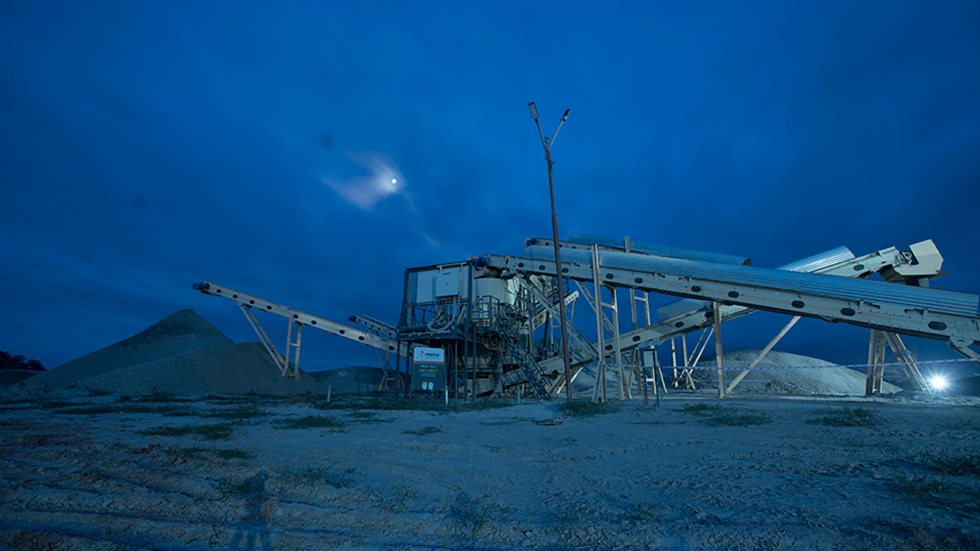 A night time view on the PNC quarry in India.