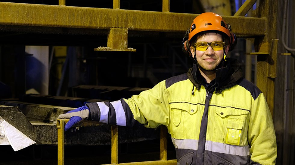 Mining engineer with personal protective equipment on.