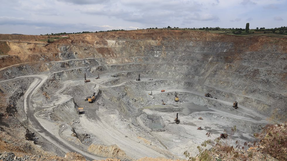 View at the Bucim open-pit copper mine in Macedonia